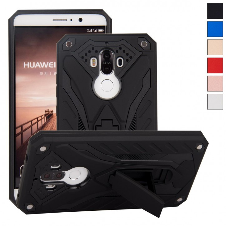 COOVY® Cover für Huawei Mate 9 Bumper Case, Hülle Doppelschicht aus Plastik + TPU-Silikon, extra stark, Anti-Shock, Standfunktion  
