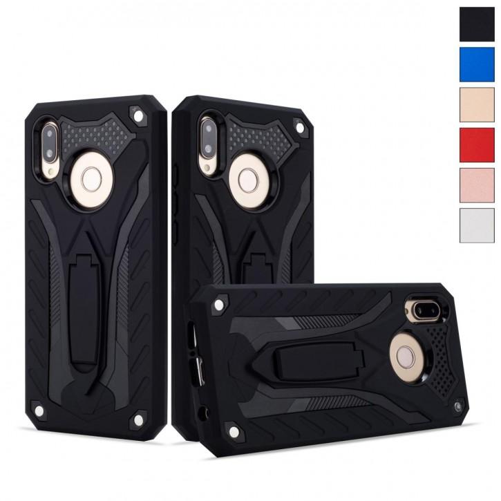 COOVY® Cover für Huawei P20 lite Bumper Case, Hülle Doppelschicht aus Plastik + TPU-Silikon, extra stark, Anti-Shock, Standfunktion |