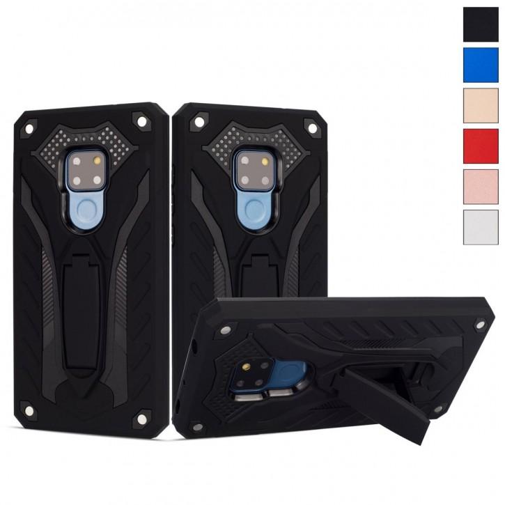 COOVY® Cover für Huawei Mate 20 Bumper Case, Hülle Doppelschicht aus Plastik + TPU-Silikon, extra stark, Anti-Shock, Standfunktion |