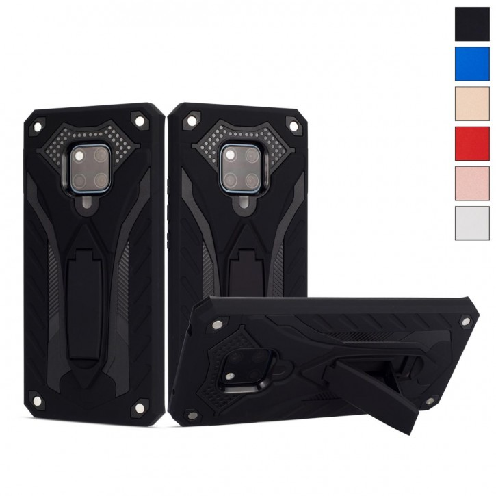 COOVY® Cover für Huawei Mate 20 pro Case, Hülle Doppelschicht aus Plastik + TPU-Silikon, extra stark, Anti-Shock, Standfunktion