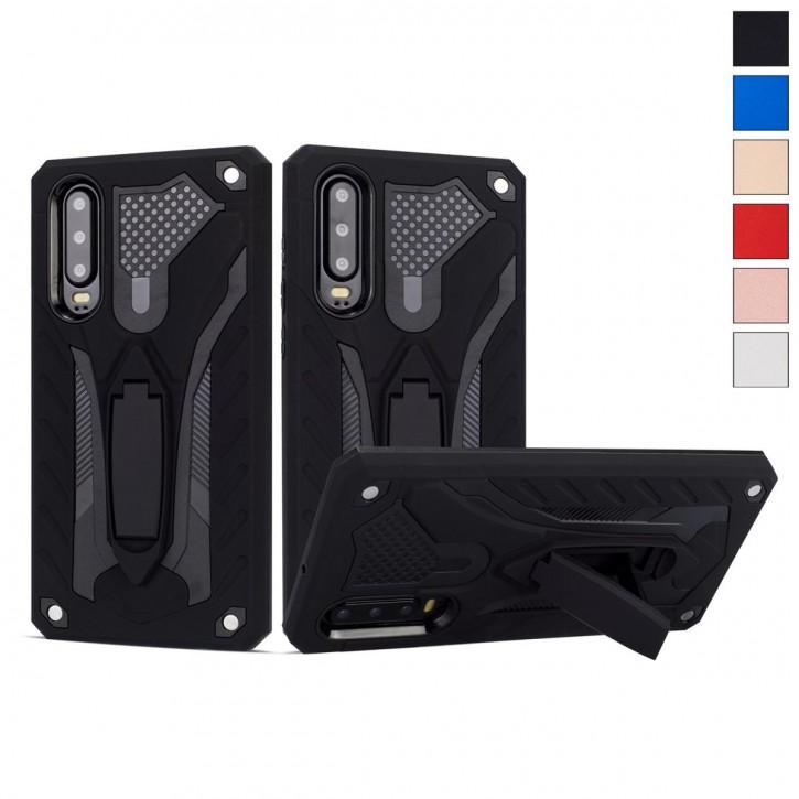 COOVY® Cover für Huawei P30 Bumper Case, Hülle Doppelschicht aus Plastik + TPU-Silikon, extra stark, Anti-Shock, Standfunktion |