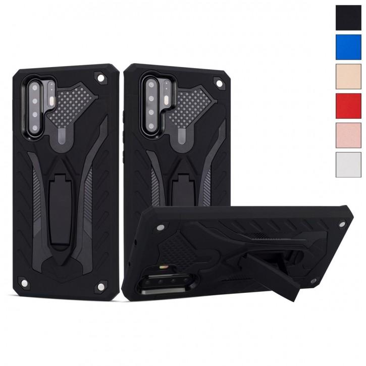 COOVY® Cover für Huawei P30 pro Bumper Case, Hülle Doppelschicht aus Plastik + TPU-Silikon, extra stark, Anti-Shock, Standfunktion  