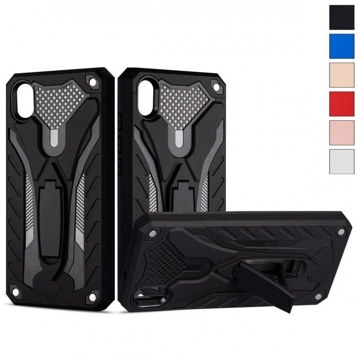 COOVY® Cover für Xiaomi Redmi 7a Bumper Case, Hülle Doppelschicht aus Plastik + TPU-Silikon, extra stark, Anti-Shock, Standfunktion |