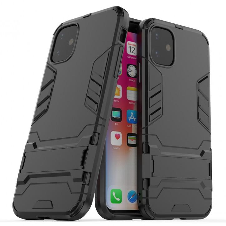 COOVY® Cover für Apple iPhone 11 Bumper Case, Doppelschicht aus Plastik + TPU-Silikon, extra stark, Anti-Shock Hülle, Standfunktion |