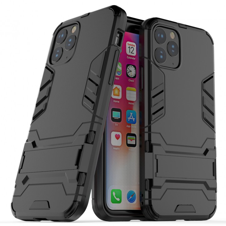 COOVY® Cover für Apple iPhone 11 pro Bumper Case, Doppelschicht aus Plastik + TPU-Silikon, extra stark, Anti-Shock Hülle, Standfunktion |