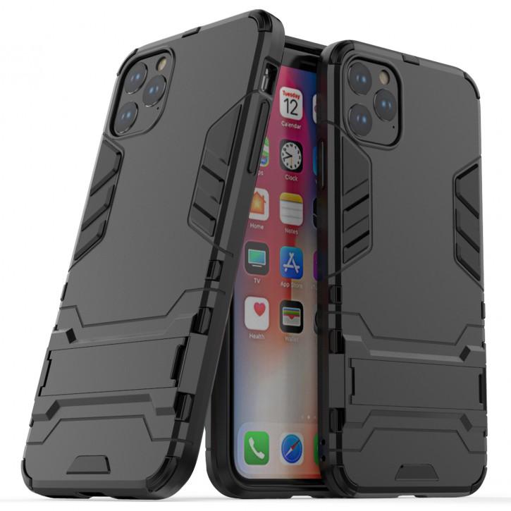 COOVY® Cover für Apple iPhone 11 pro Max Bumper Case, Doppelschicht aus Plastik + TPU-Silikon, extra stark, Anti-Shock Hülle, Standfunktion  
