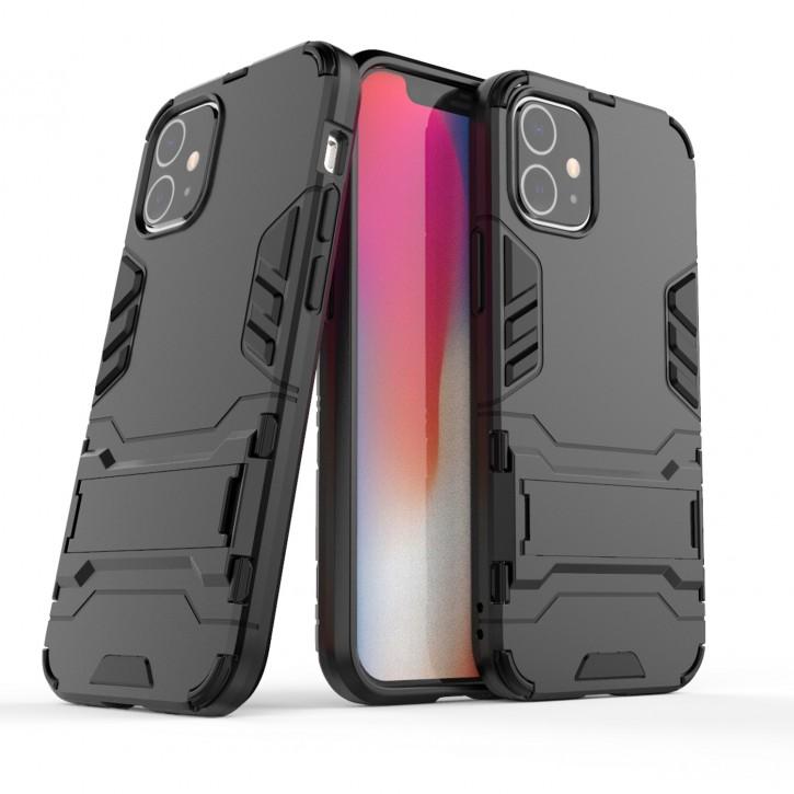 COOVY® Cover für Apple iPhone 12 mini 5.4 Bumper Case, Doppelschicht aus Plastik + TPU-Silikon, extra stark, Anti-Shock Hülle, Standfunktion |