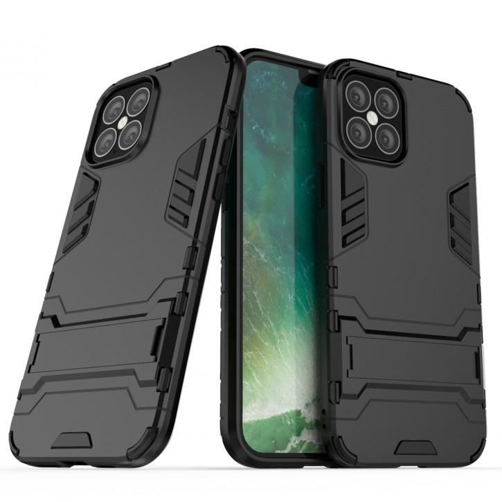 COOVY® Cover für Apple iPhone 12 pro Max 6.7 Bumper Case, Doppelschicht aus Plastik + TPU-Silikon, extra stark, Anti-Shock Hülle, Standfunktion |