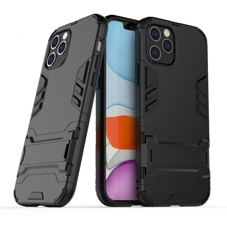 COOVY® Cover für Apple iPhone 12/12 pro 6.1 Bumper Case, Doppelschicht aus Plastik + TPU-Silikon, extra stark, Anti-Shock Hülle, Standfunktion |