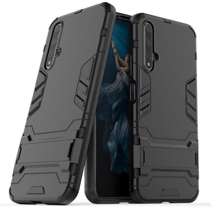 COOVY® Cover für Huawei Honor 20 / Nova 5T Bumper Case, Doppelschicht aus Plastik + TPU-Silikon, extra stark, Anti-Shock Hülle, Standfunktion |