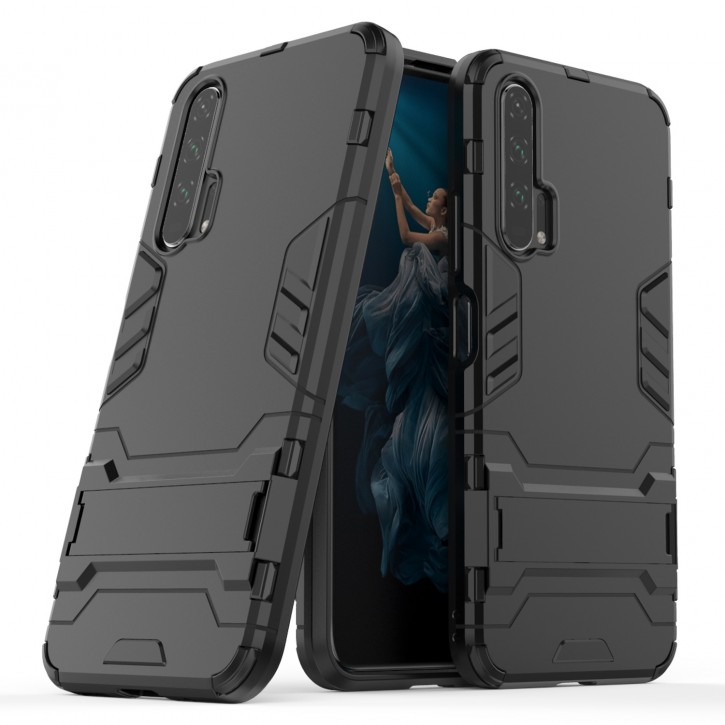 COOVY® Cover für Huawei Honor 20 pro Bumper Case, Doppelschicht aus Plastik + TPU-Silikon, extra stark, Anti-Shock Hülle, Standfunktion |