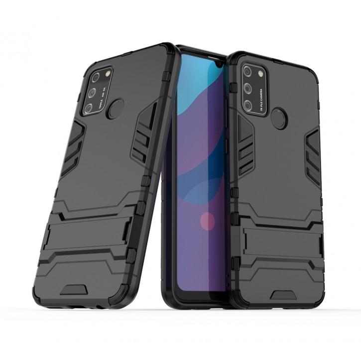 COOVY® Cover für Huawei Honor 9A Bumper Case, Doppelschicht aus Plastik + TPU-Silikon, extra stark, Anti-Shock Hülle, Standfunktion |