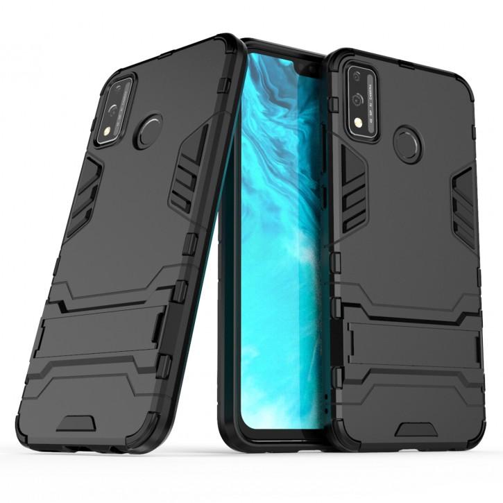 COOVY® Cover für Huawei Honor 9x Lite Bumper Case, Doppelschicht aus Plastik + TPU-Silikon, extra stark, Anti-Shock Hülle, Standfunktion |