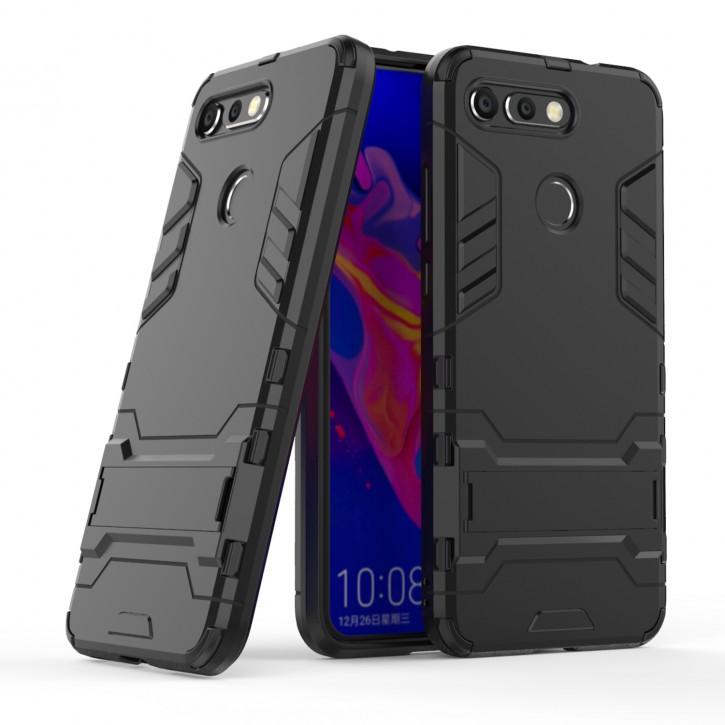 COOVY® Cover für Huawei Honor View 20 / V20 Bumper Case, Doppelschicht aus Plastik + TPU-Silikon, extra stark, Anti-Shock Hülle, Standfunktion |