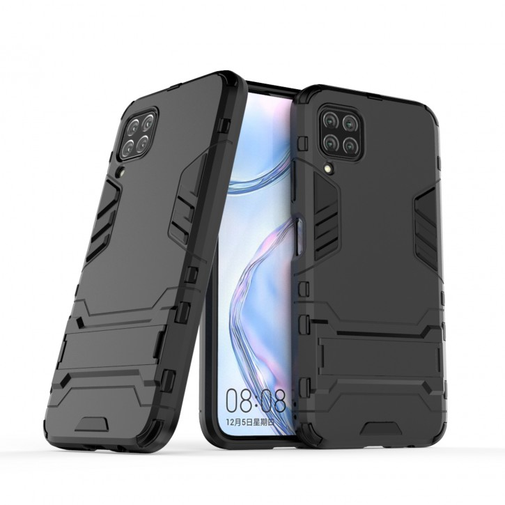 COOVY® Cover für Huawei P40 Lite / nova 6 SE / nova 7i Bumper Case, Doppelschicht aus Plastik + TPU-Silikon, extra stark, Anti-Shock Hülle, Standfunktion |