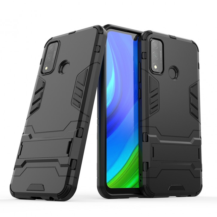 COOVY® Cover für Huawei P Smart 2020 Bumper Case, Doppelschicht aus Plastik + TPU-Silikon, extra stark, Anti-Shock Hülle, Standfunktion  