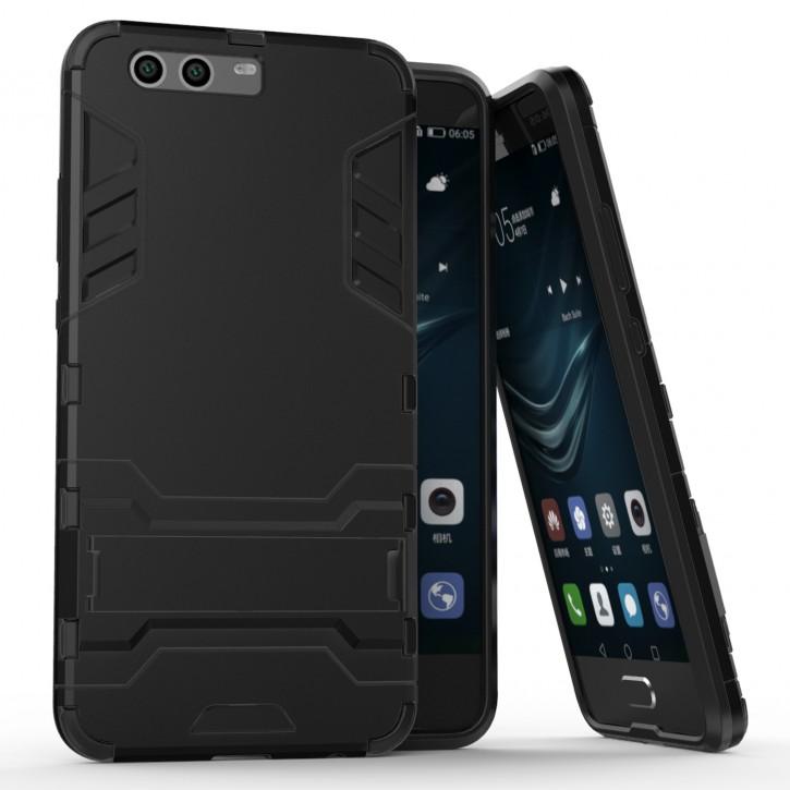 COOVY® Cover für Huawei P10 + plus Bumper Case, Doppelschicht aus Plastik + TPU-Silikon, extra stark, Anti-Shock Hülle, Standfunktion |