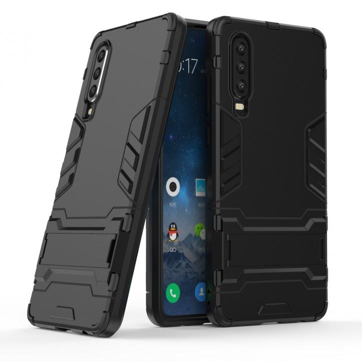 COOVY® Cover für Huawei P30 Bumper Case, Doppelschicht aus Plastik + TPU-Silikon, extra stark, Anti-Shock Hülle, Standfunktion |