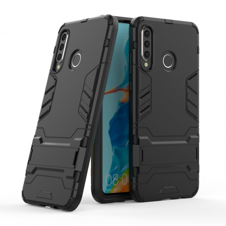 COOVY® Cover für Huawei P30 lite/  NOVA 4E Bumper Case, Doppelschicht aus Plastik + TPU-Silikon, extra stark, Anti-Shock Hülle, Standfunktion |