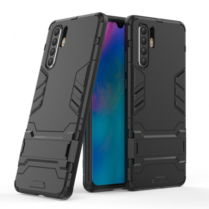 COOVY® Cover für Huawei P30 pro Bumper Case, Doppelschicht aus Plastik + TPU-Silikon, extra stark, Anti-Shock Hülle, Standfunktion  