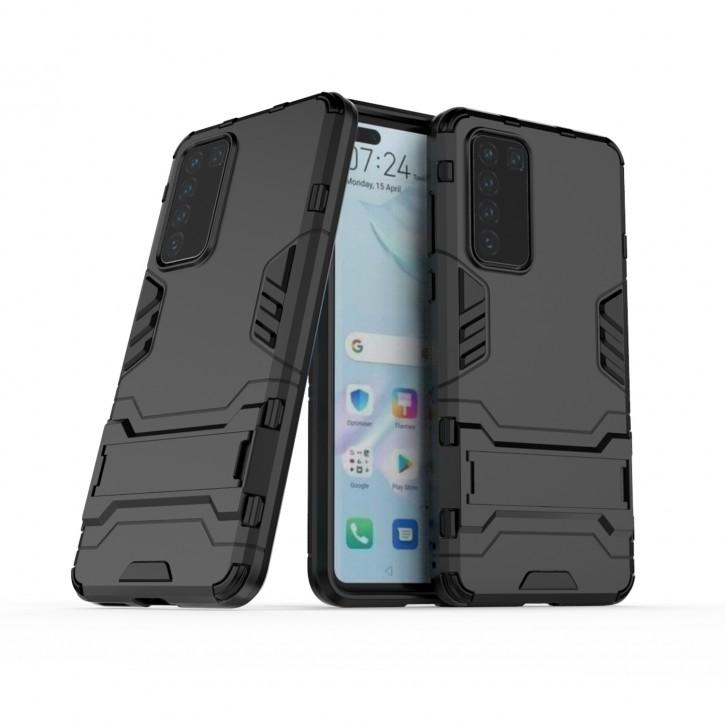 COOVY® Cover für Huawei P40 Bumper Case, Doppelschicht aus Plastik + TPU-Silikon, extra stark, Anti-Shock Hülle, Standfunktion |