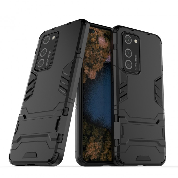 COOVY® Cover für Huawei P40 Pro Bumper Case, Doppelschicht aus Plastik + TPU-Silikon, extra stark, Anti-Shock Hülle, Standfunktion  