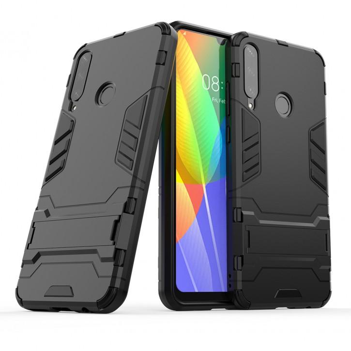 COOVY® Cover für Huawei Y6p Bumper Case, Doppelschicht aus Plastik + TPU-Silikon, extra stark, Anti-Shock Hülle, Standfunktion |