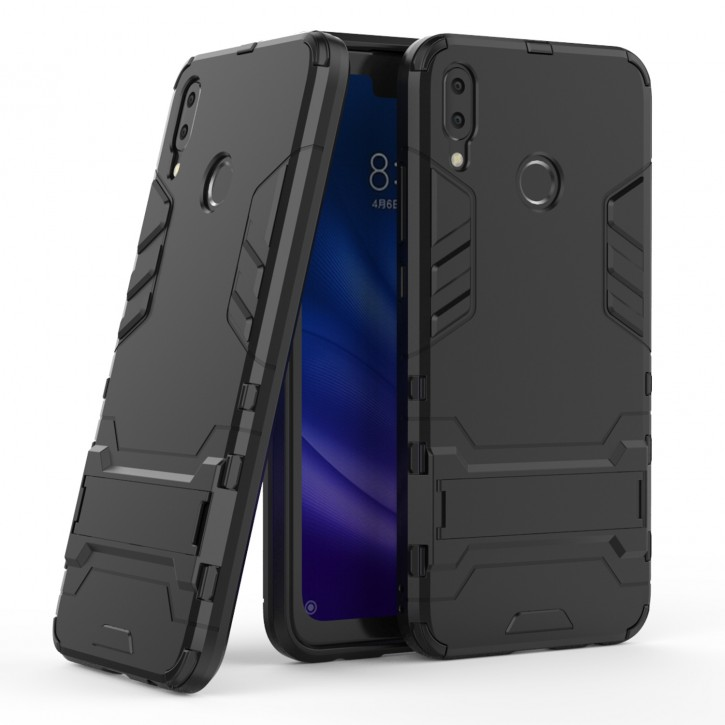 COOVY® Cover für Huawei Y9 (Model 2019) / Enjoy 9 + plus Bumper Case, Doppelschicht aus Plastik + TPU-Silikon, extra stark, Anti-Shock Hülle, Standfunktion |