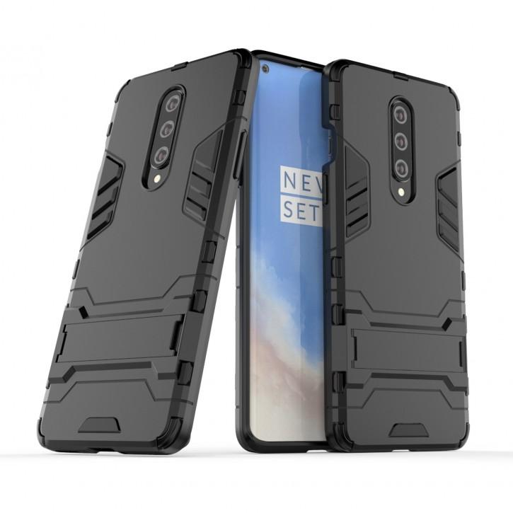 COOVY® Cover für Oneplus 8 Bumper Case, Doppelschicht aus Plastik + TPU-Silikon, extra stark, Anti-Shock Hülle, Standfunktion |
