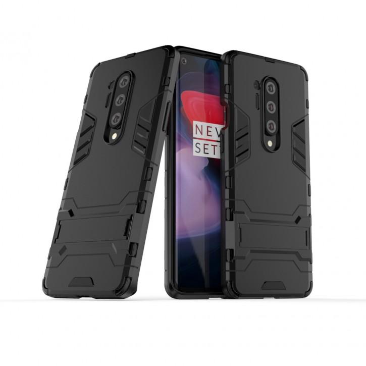 COOVY® Cover für Oneplus 8 Pro Bumper Case, Doppelschicht aus Plastik + TPU-Silikon, extra stark, Anti-Shock Hülle, Standfunktion |