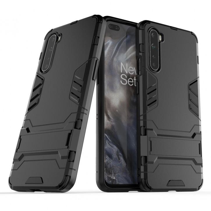 COOVY® Cover für Oneplus Nord Bumper Case, Doppelschicht aus Plastik + TPU-Silikon, extra stark, Anti-Shock Hülle, Standfunktion |