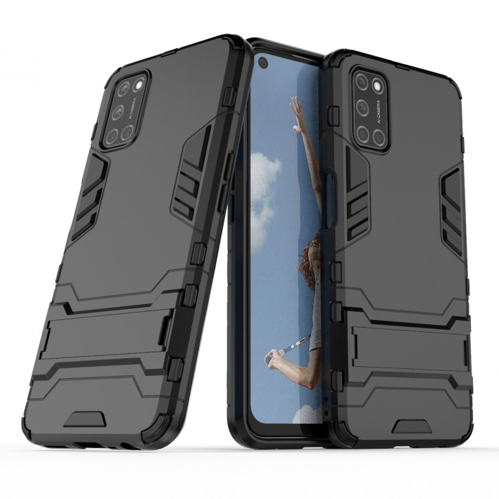 COOVY® Cover für Oppo A52 / A72 / A92 Bumper Case, Doppelschicht aus Plastik + TPU-Silikon, extra stark, Anti-Shock Hülle, Standfunktion  