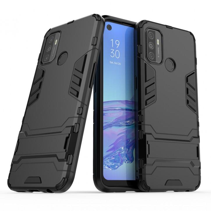 COOVY® Cover für Oppo A53 / A32 Bumper Case, Doppelschicht aus Plastik + TPU-Silikon, extra stark, Anti-Shock Hülle, Standfunktion |