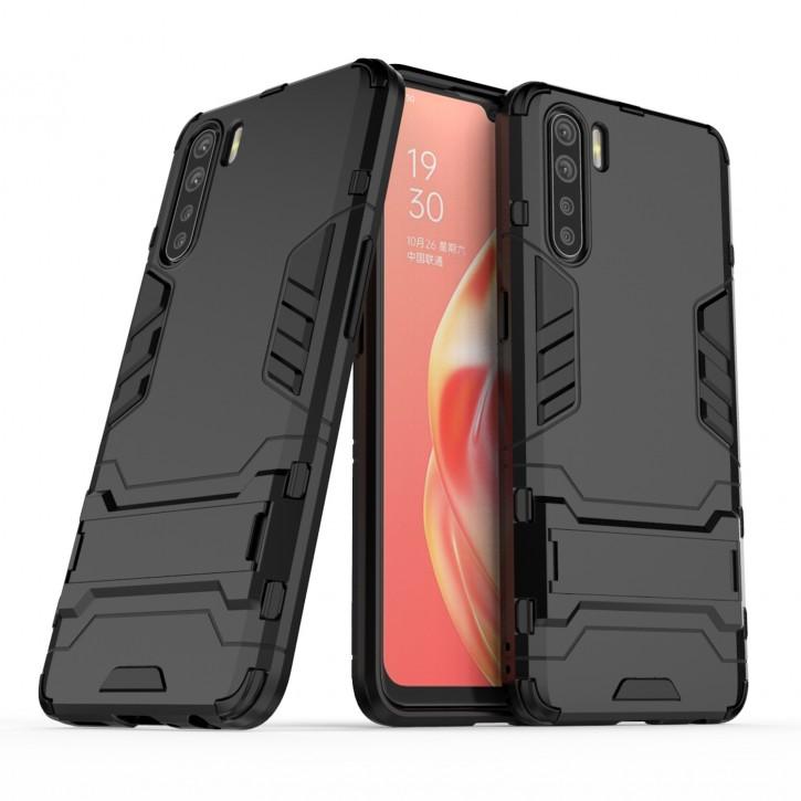 COOVY® Cover für Oppo A91 / F15 Bumper Case, Doppelschicht aus Plastik + TPU-Silikon, extra stark, Anti-Shock Hülle, Standfunktion  