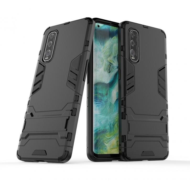COOVY® Cover für Oppo Find X2 Bumper Case, Doppelschicht aus Plastik + TPU-Silikon, extra stark, Anti-Shock Hülle, Standfunktion |
