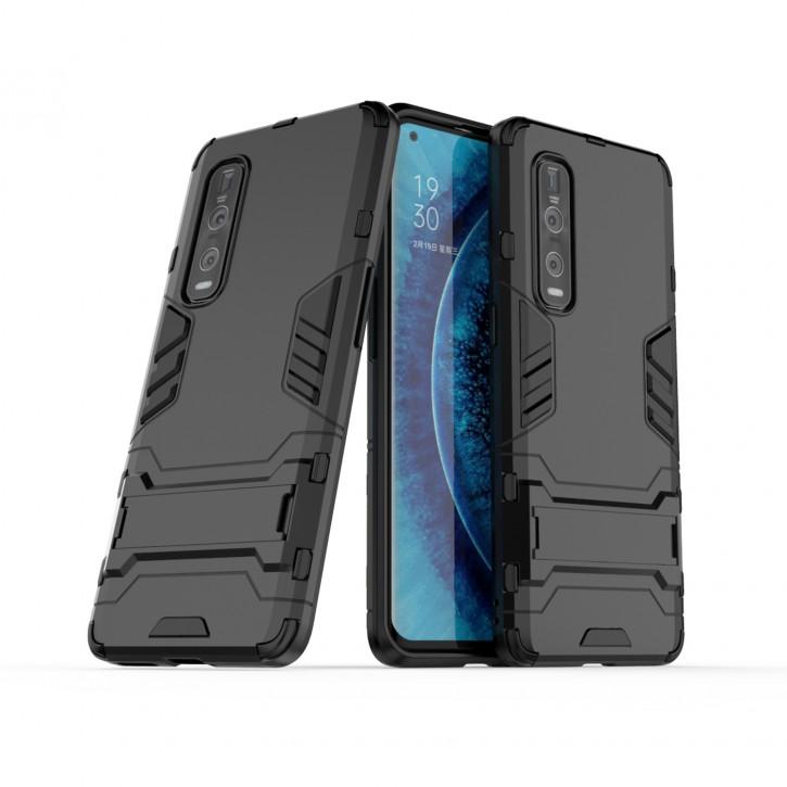 COOVY® Cover für Oppo Find X2 Pro Bumper Case, Doppelschicht aus Plastik + TPU-Silikon, extra stark, Anti-Shock Hülle, Standfunktion  