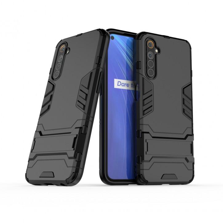 COOVY® Cover für Oppo Realme 6 Bumper Case, Doppelschicht aus Plastik + TPU-Silikon, extra stark, Anti-Shock Hülle, Standfunktion |