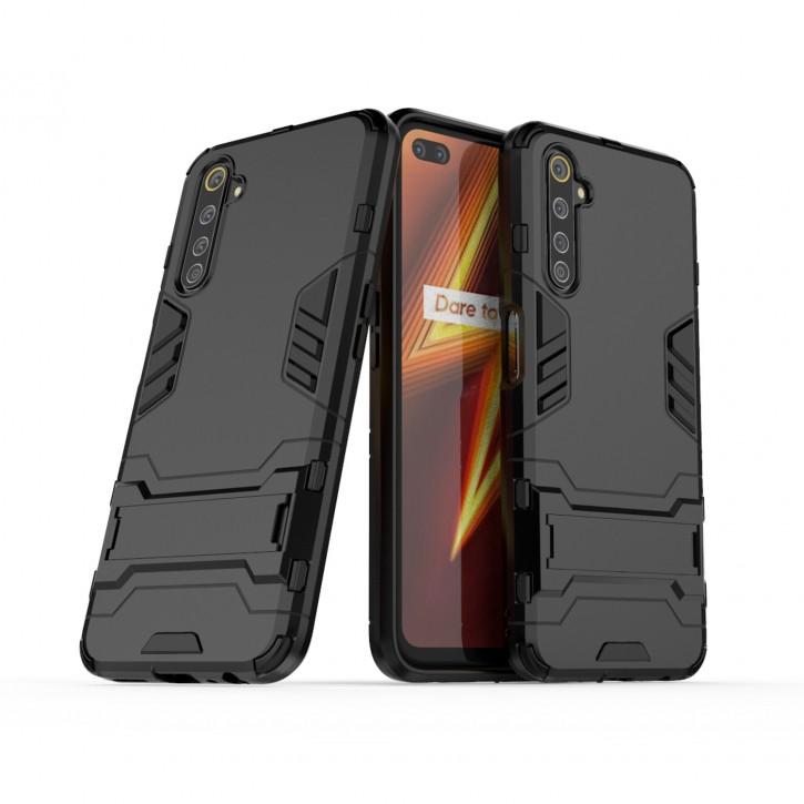 COOVY® Cover für Oppo Realme 6 Pro Bumper Case, Doppelschicht aus Plastik + TPU-Silikon, extra stark, Anti-Shock Hülle, Standfunktion |