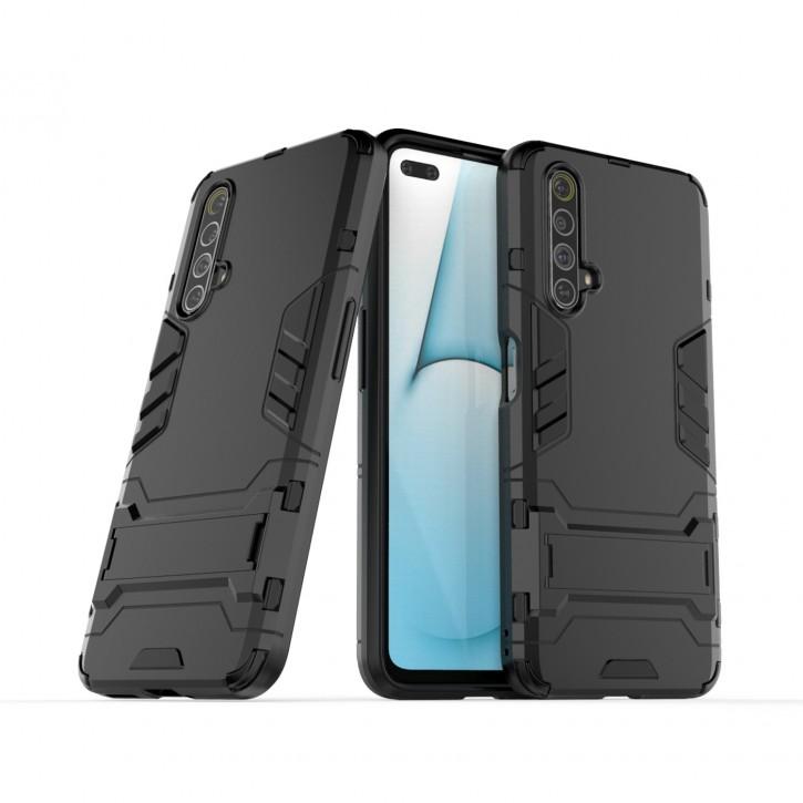 COOVY® Cover für Oppo Realme X50 5G Bumper Case, Doppelschicht aus Plastik + TPU-Silikon, extra stark, Anti-Shock Hülle, Standfunktion |