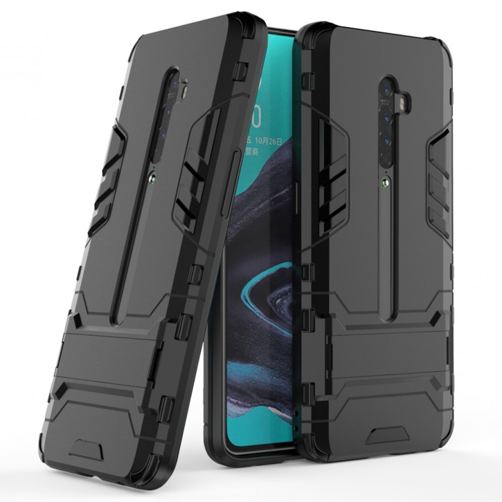 COOVY® Cover für Oppo Reno 2 Bumper Case, Doppelschicht aus Plastik + TPU-Silikon, extra stark, Anti-Shock Hülle, Standfunktion |
