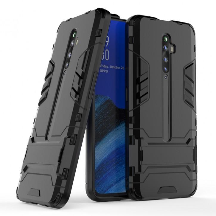 COOVY® Cover für Oppo Reno 2 Z / Reno2 F Bumper Case, Doppelschicht aus Plastik + TPU-Silikon, extra stark, Anti-Shock Hülle, Standfunktion |