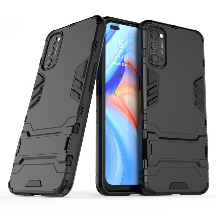 COOVY® Cover für Oppo Reno 4 5G Bumper Case, Doppelschicht aus Plastik + TPU-Silikon, extra stark, Anti-Shock Hülle, Standfunktion |