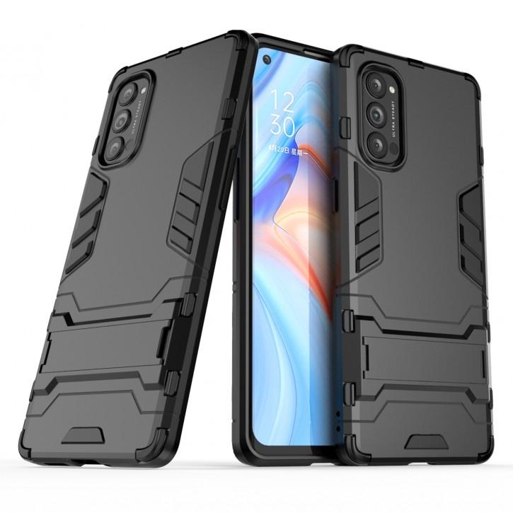COOVY® Cover für Oppo Reno 4 Pro 5G Bumper Case, Doppelschicht aus Plastik + TPU-Silikon, extra stark, Anti-Shock Hülle, Standfunktion |