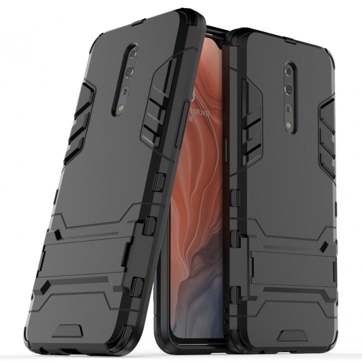 COOVY® Cover für Oppo Reno Z Bumper Case, Doppelschicht aus Plastik + TPU-Silikon, extra stark, Anti-Shock Hülle, Standfunktion |