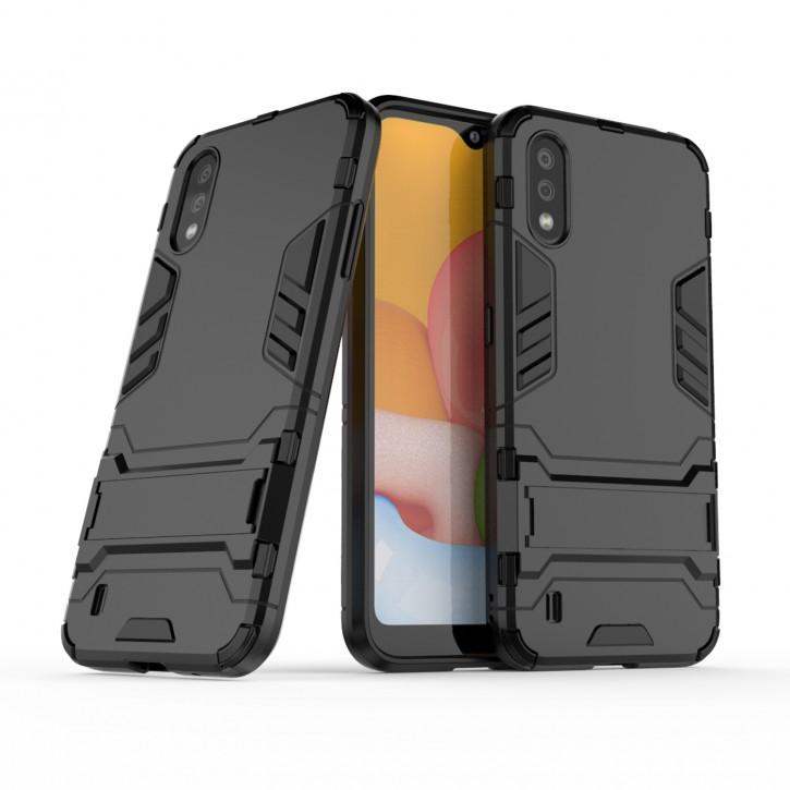 COOVY® Cover für Samsung Galaxy A01 SM-A015F/DS Bumper Case, Doppelschicht aus Plastik + TPU-Silikon, extra stark, Anti-Shock Hülle, Standfunktion |