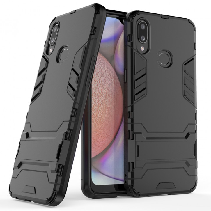 COOVY® Cover für Samsung Galaxy A10s SM-A107F/DS  Bumper Case, Doppelschicht aus Plastik + TPU-Silikon, extra stark, Anti-Shock Hülle, Standfunktion |