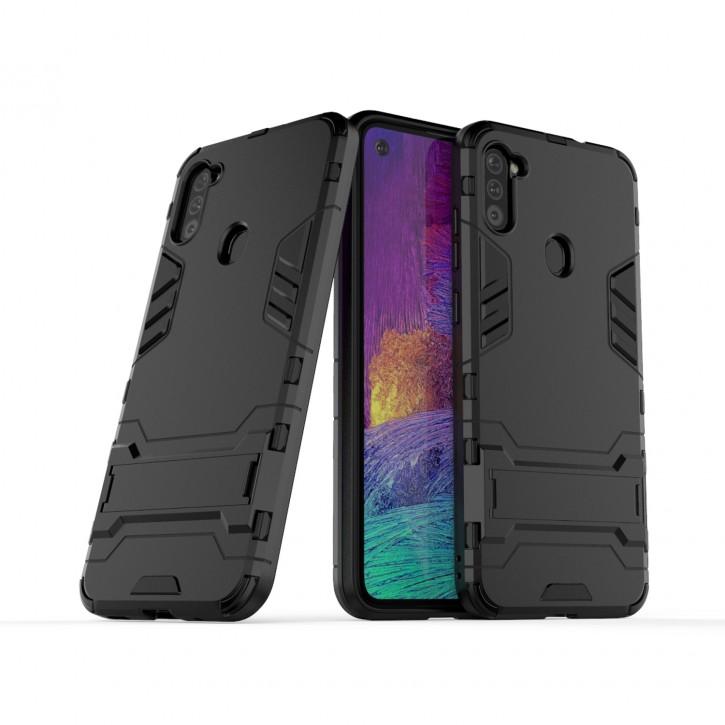 COOVY® Cover für Samsung Galaxy A11 SM-A115F/DS /  M11 SM-M115F/DSN Bumper Case, Doppelschicht aus Plastik + TPU-Silikon, extra stark, Anti-Shock Hülle, Standfunktion |