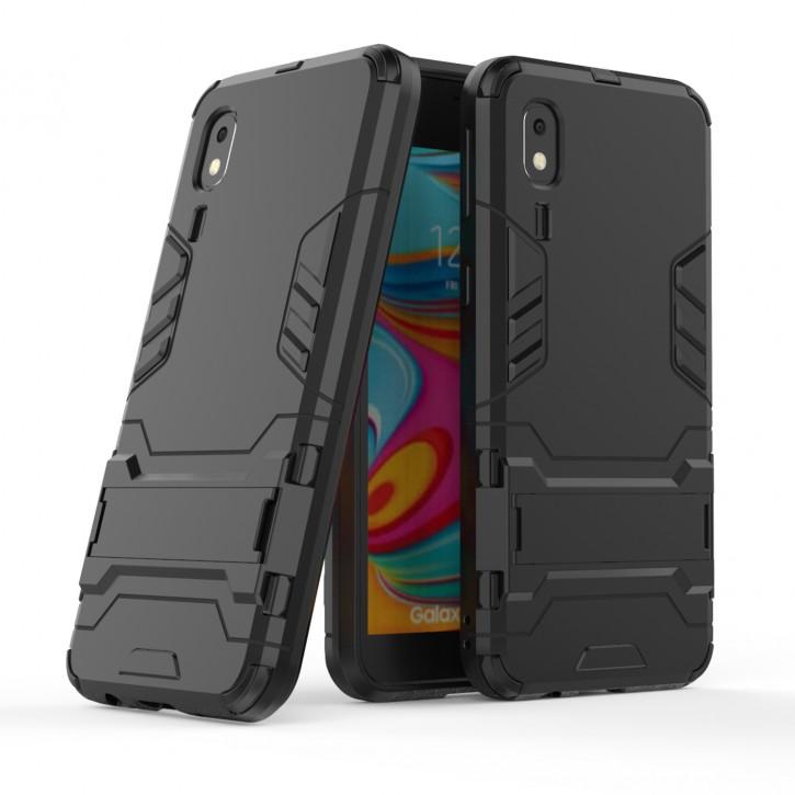 COOVY® Cover für Samsung Galaxy A2 Core SM-A260F/DS Bumper Case, Doppelschicht aus Plastik + TPU-Silikon, extra stark, Anti-Shock Hülle, Standfunktion |