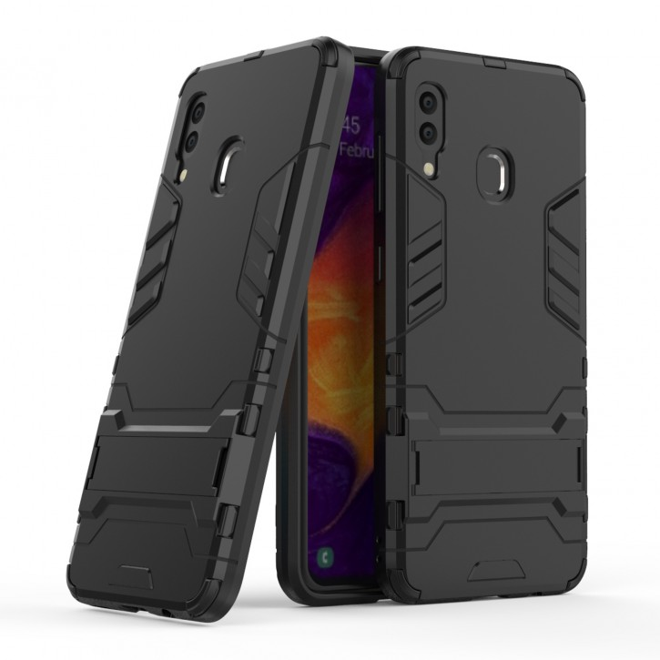 COOVY® Cover für Samsung Galaxy A20 SM-A205F/DS / A30 SM-A305F/DS Bumper Case, Doppelschicht aus Plastik + TPU-Silikon, extra stark, Anti-Shock Hülle, Standfunktion |