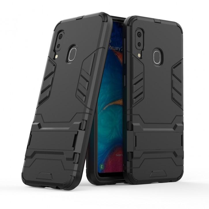 COOVY® Cover für Samsung Galaxy A20e SM-A202F/DS Bumper Case, Doppelschicht aus Plastik + TPU-Silikon, extra stark, Anti-Shock Hülle, Standfunktion |
